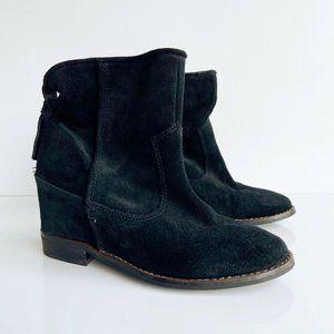 Zara Trafaluc Hidden Wedge Almond Toe Boots Black